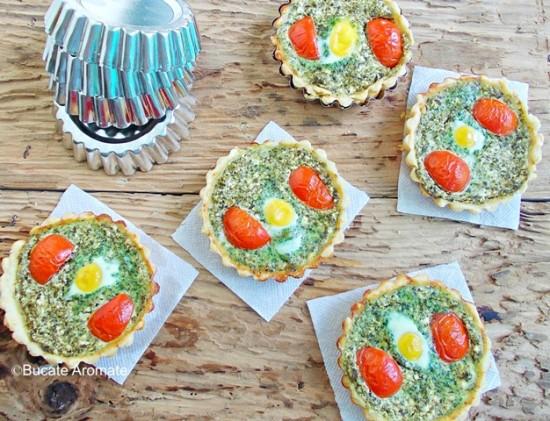 mini tarte cu spanac si oua de prepelita