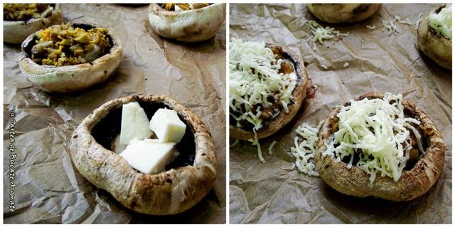 Ciuperci umplute cu legume şi brânzeturi