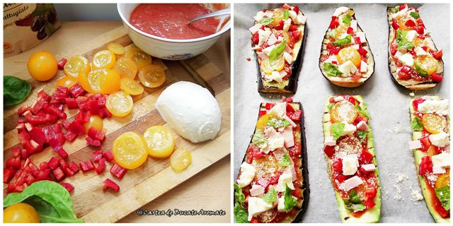 Pizza pe felii de vinete şi dovlecei