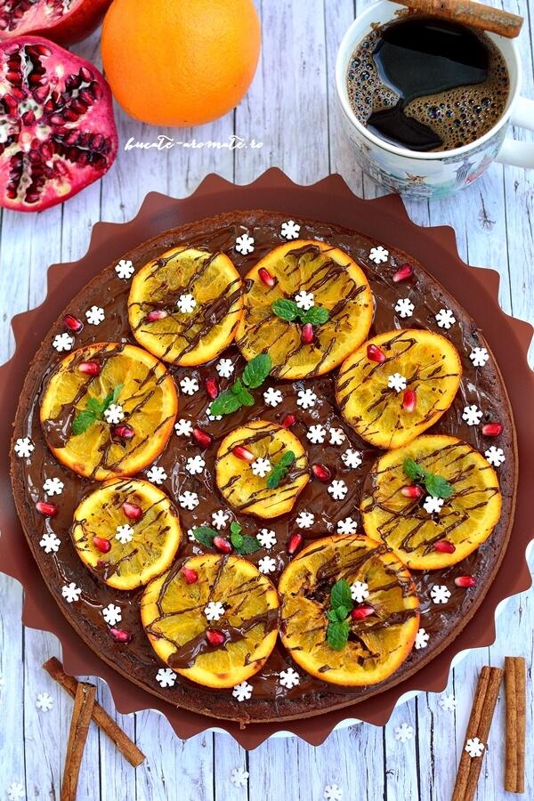 Prăjitură cu ciocolată, portocale şi alte arome de iarnă