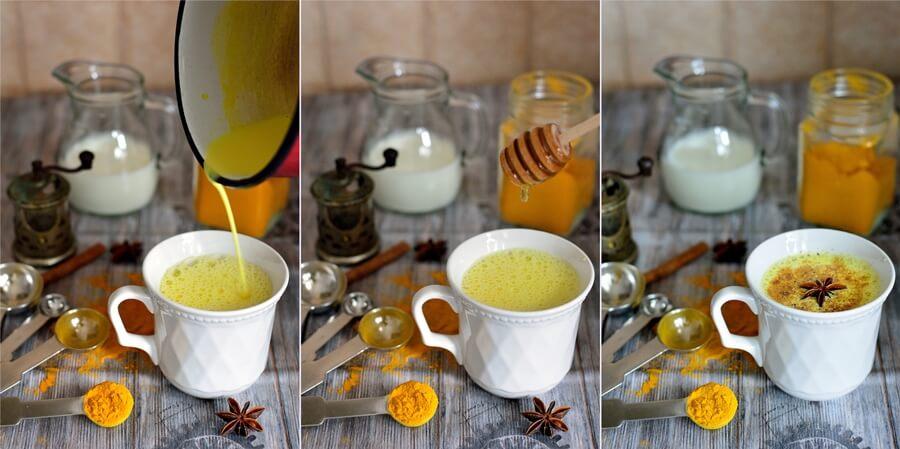 Lapte de aur - cu turmeric şi miere de albine