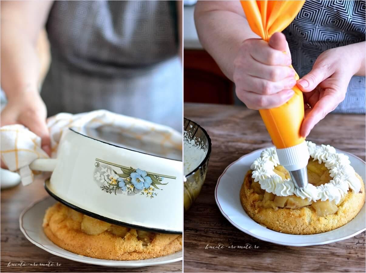 Tort simplu de mere decorat cu frisca si scortisoara