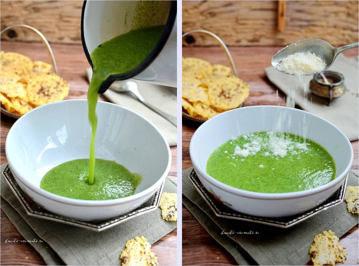 Supă cremă de broccoli cu rondele de parmezan