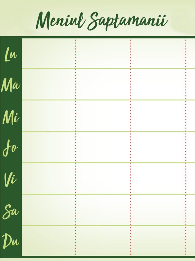 planificarea meniului săptămânal