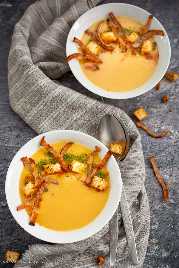 Supa crema de naut cu sunculita crocanta