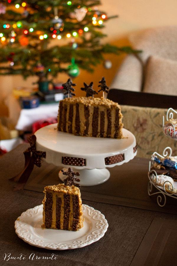 Sectiune tort cu crema de caramel sarat